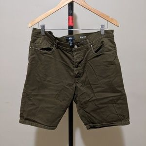 H&M Olive Slim Fit Chino Shorts